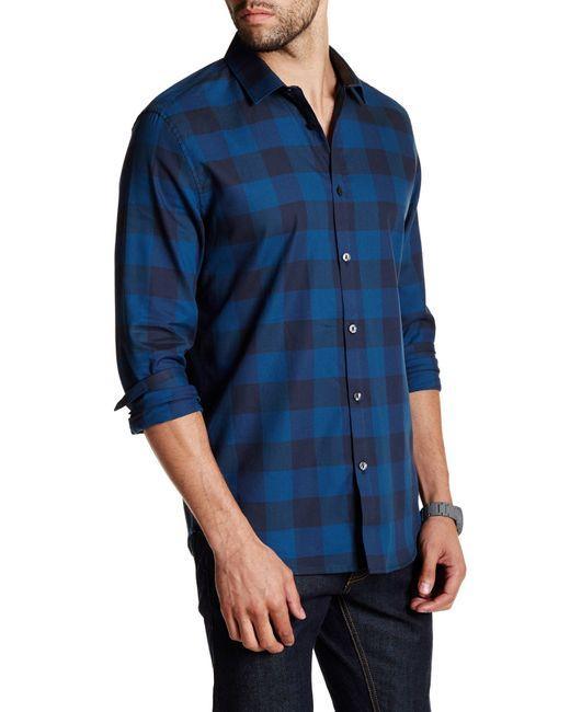 Calvin Klein | Blue Regular Fit Buffalo Check Long Sleeve Shirt for Men | Lyst
