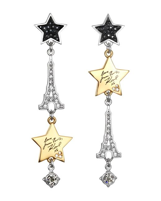 Karl Lagerfeld - Metallic Drama Paris Swarovski Crystal Accented Mixed Charm Drop Earrings - Lyst