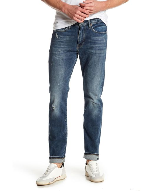 """Lucky Brand - Blue 121 Heritage Slim Distressed Jeans - 30-34"""" Inseam for Men - Lyst"""
