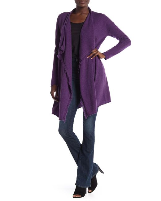 GRIFFEN CASHMERE - Purple Frayed Trim Fly Away Cashmere Cardigan - Lyst
