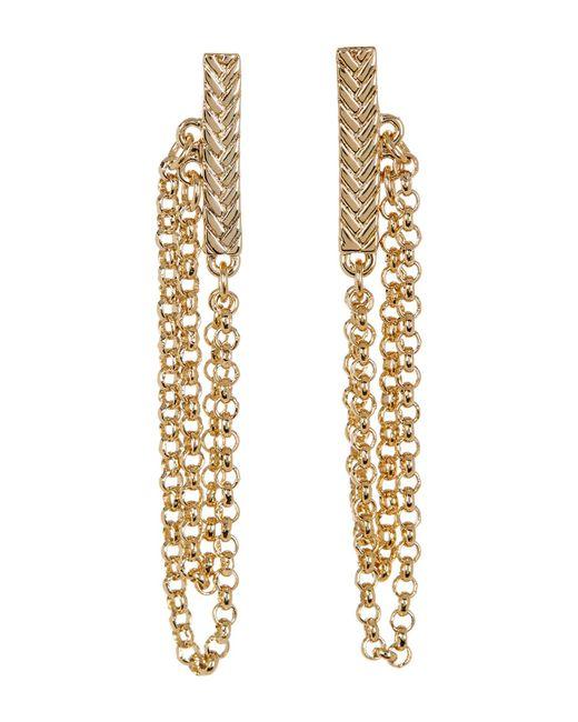 Cole Haan | Metallic Textured Bar & Chain Drop Earrings | Lyst