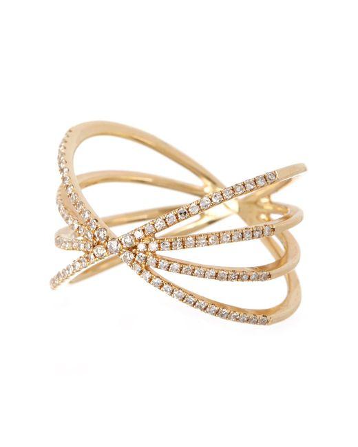 EF Collection - Metallic 14k Gold Pave Diamond Sunburst Ring - Size 8 - 0.30 Ctw - Lyst