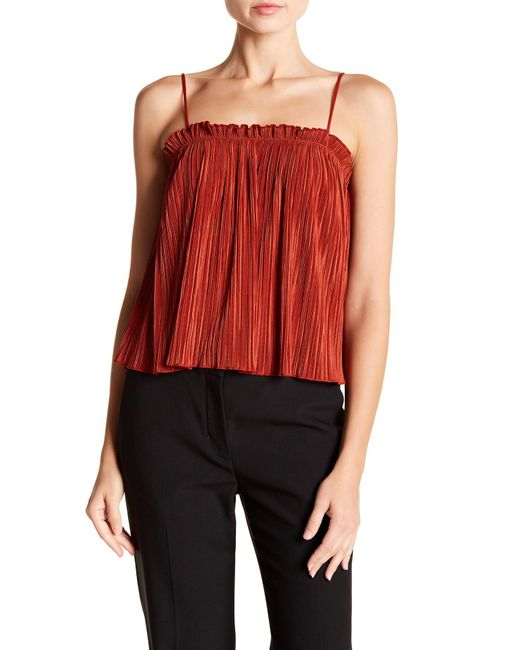 Madewell - Red Nicole Pleated Ruffle Tank - Lyst