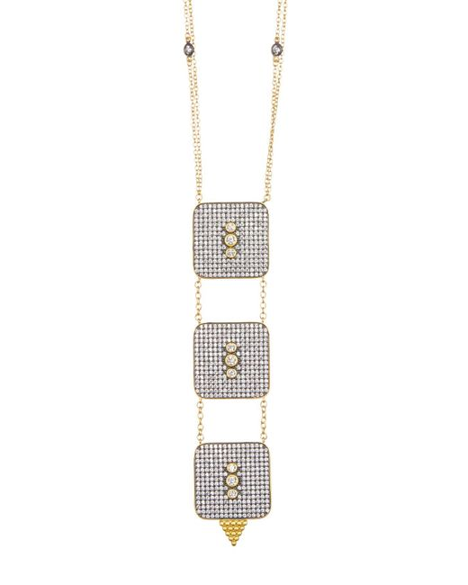 Freida Rothman - Metallic 14k Gold Plated Sterling Silver Cz Contemporary Deco Square Triple Necklace - Lyst