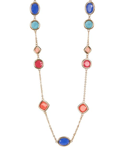 Carolee | Metallic 12k Gold Multi-color Stone Station Necklace | Lyst
