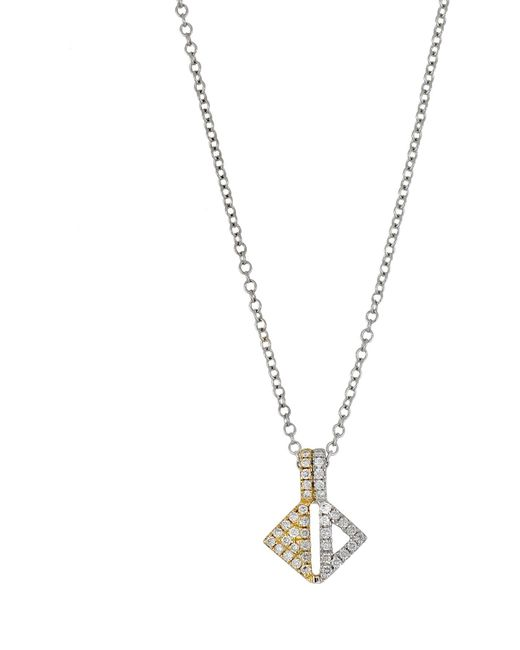 Bony Levy - Metallic 18k Two-tone Pave Diamond Cutout Triangle Pendant Necklace - Lyst
