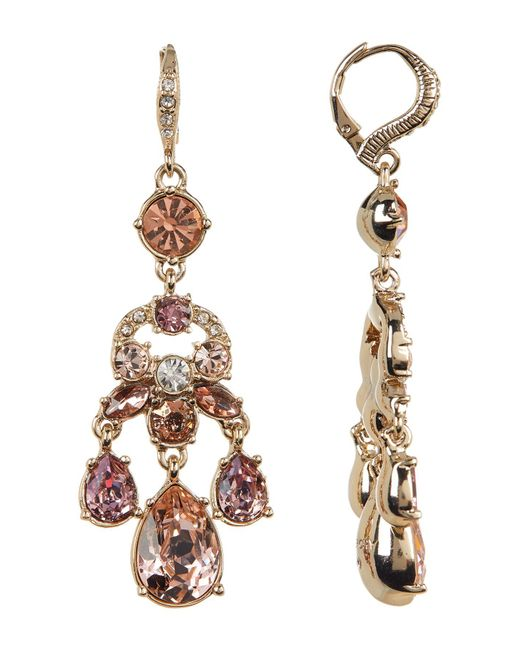 Givenchy - Metallic White & Blush Glass Crystal Chandelier Earrings - Lyst