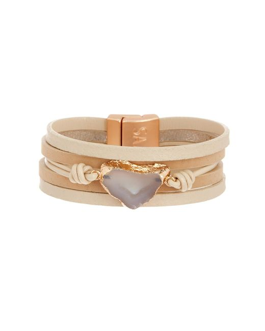 Saachi - Metallic Morning Agate Stone Pendant Multi-strand Bracelet - Lyst