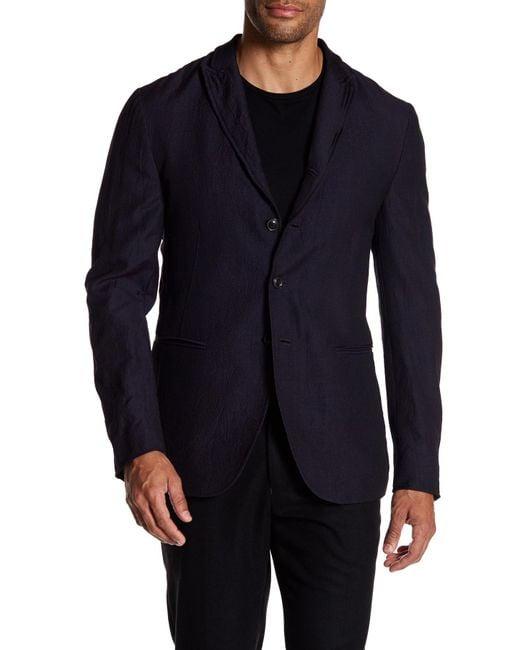 John Varvatos | Blue Convertible Wool Peak Lapel Slim Fit Jacket for Men | Lyst