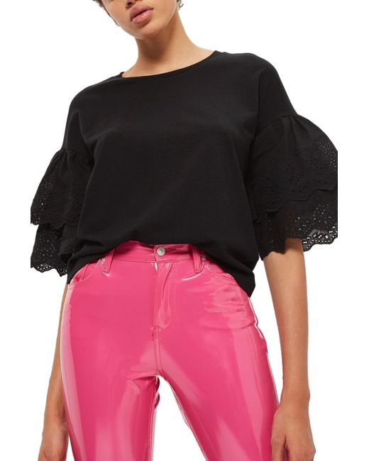 TOPSHOP - Black Eyelet Layer Sleeve Tee T-shirt (regular & Petite) - Lyst