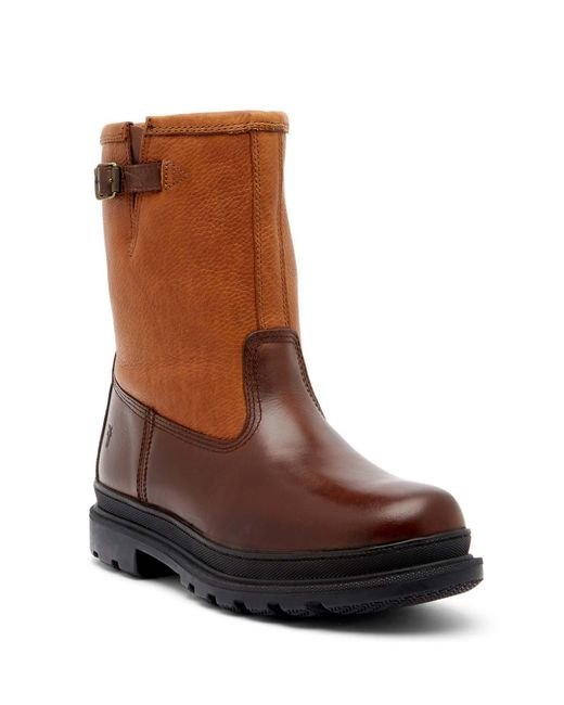 Frye - Brown Riley Genuine Shearling Lined Waterproof Leather Boot for Men - Lyst