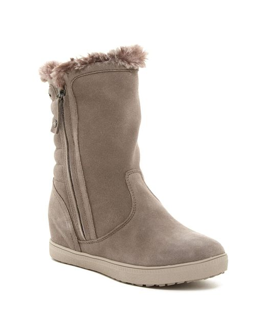 geox amaranth high faux fur lined suede boot in brown lyst