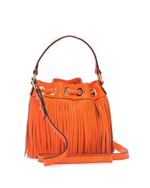 Milly Orange Es Fringe Small Drawstring Leather Handbag Lyst