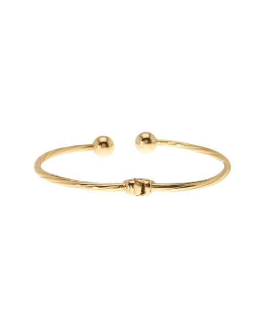 Argento Vivo | Metallic 18k Gold Plated Sterling Silver Twisted Bangle Ball Bracelet | Lyst