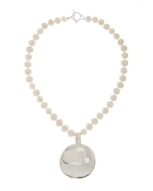 Simon Sebbag | Metallic Sterling Silver Faceted Disc & 10-13mm Freshwater Pearl Strand Necklace | Lyst