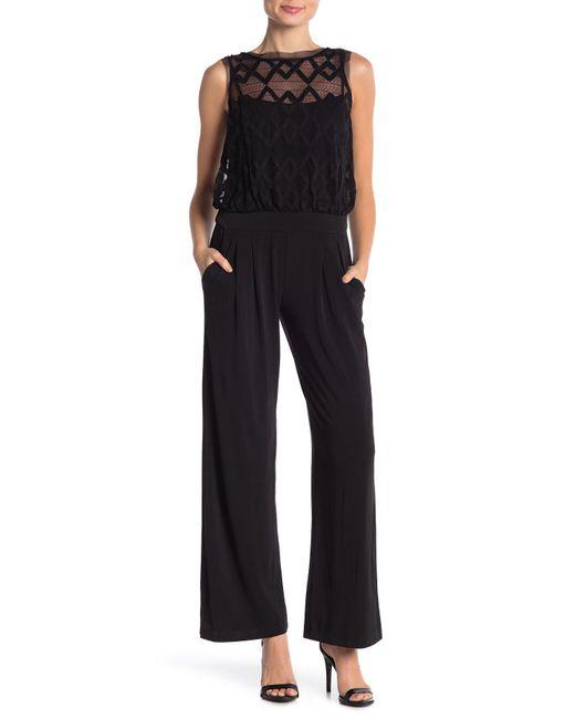 Julia Jordan - Black Sleeveless Lace Jumpsuit - Lyst