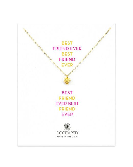 Dogeared | Metallic 14k Yellow Gold Plated Sterling Silver Best Friend Ever Wrapped Heart Pendant Necklace | Lyst