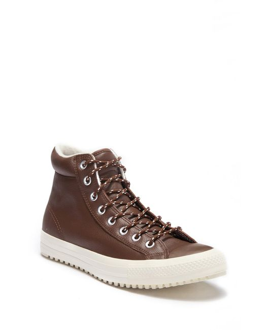 Converse - Brown Chuck Taylor All Star Leather Boot High-top Sneaker for Men - Lyst