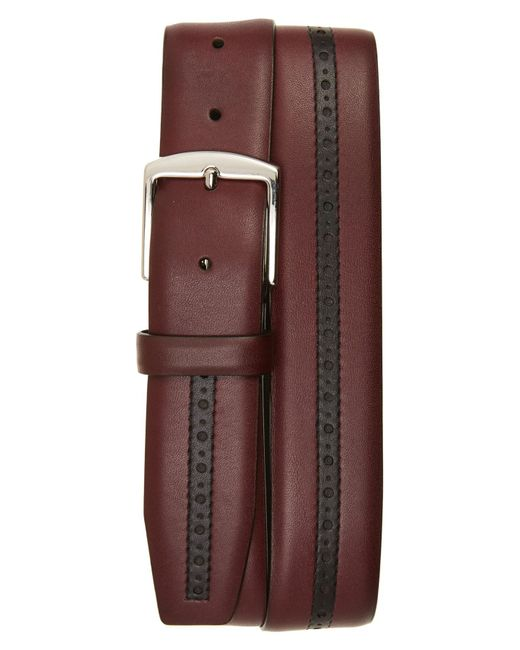 Canali - Red Perforated Leather Belt - Lyst