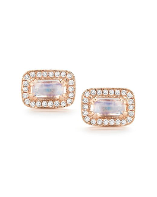 Dana Rebecca - Metallic 14k Rose Gold Sylvie Rose Moonstone & Diamond Stud Earrings - Lyst