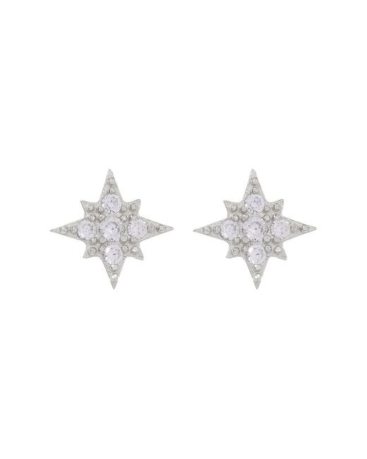 Shashi - Metallic Eliza 18k White Gold Plated Sterling Silver Burst Pave Cz Stud Earrings - Lyst