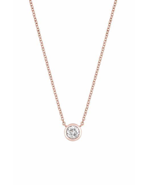 Bony Levy - Metallic 14k Rose Gold Bezel Set Diamond Solitaire Pendant Necklace - 0.07 Ctw - Lyst