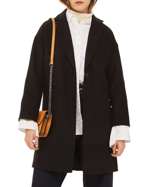TOPSHOP - Black Millie Relaxed Fit Coat - Lyst