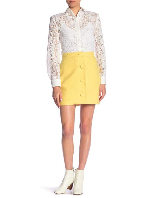 Paul & Joe - Yellow Darya Virgin Wool Blend Front Button Mini Skirt - Lyst