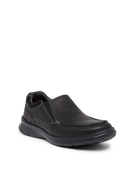 Clarks - Black Cotrell Free Leather Slip-on Sneaker for Men - Lyst