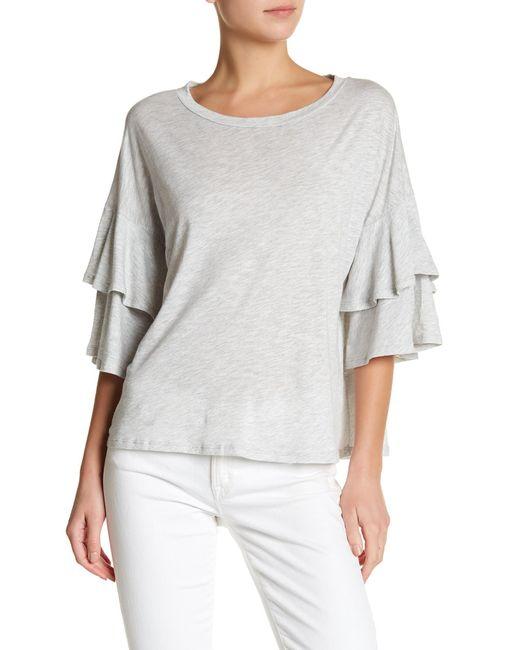 Lush - Gray Tiered Ruffle Sleeve Shirt - Lyst
