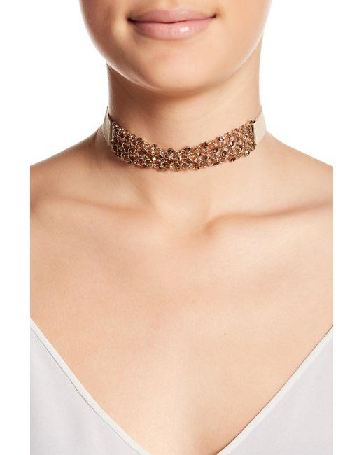 Jenny Packham - Metallic Crystal Multi-chain Choker Necklace - Lyst