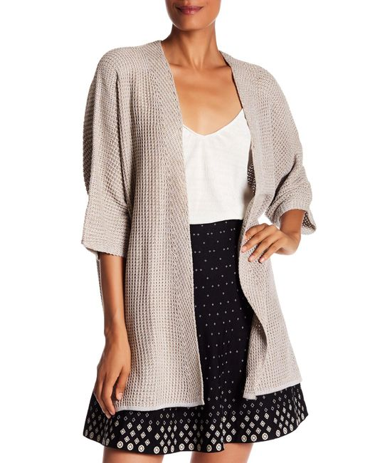 Max Studio | Natural Bell Sleeve Waffle Knit Cardigan Sweater | Lyst