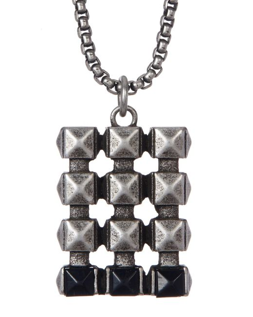 Steve Madden - Metallic Studded Dogtag Necklace for Men - Lyst