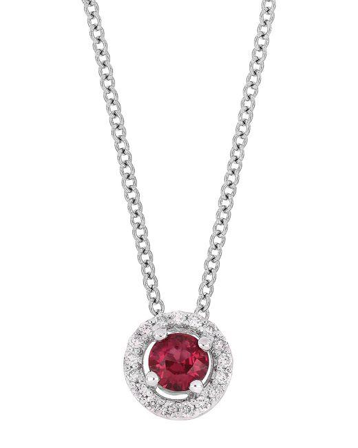 Bony Levy - Metallic 18k White Gold Prong Set Ruby & Diamond Halo Round Pendant Necklace - 0.07 Ctw - Lyst