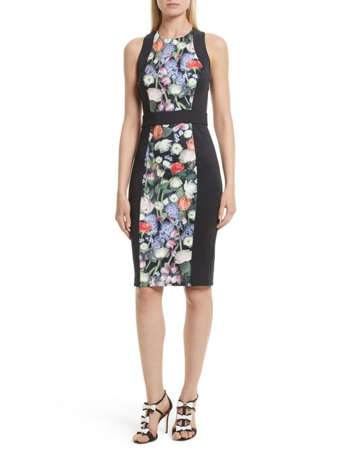Ted Baker - Black Akva Kensington Floral Body-con Dress - Lyst