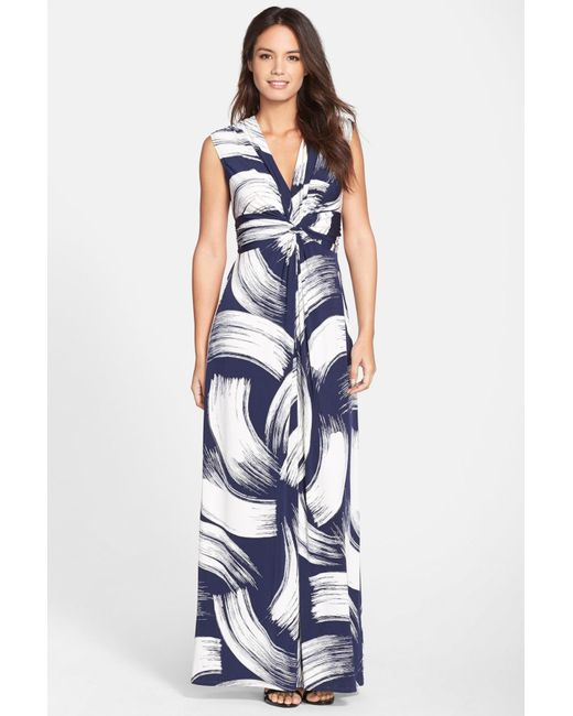 Eliza J - Blue Front Knot Jersey Maxi Dress - Lyst