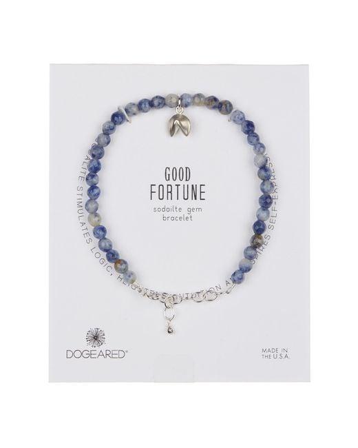 Dogeared - Metallic Sterling Silver Sodalite Bead & Fortune Cookie Charm Bracelet - Lyst
