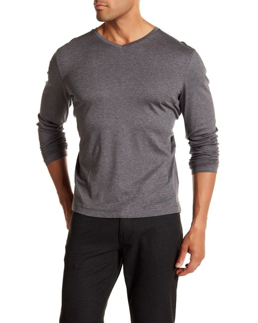 Raffi - Gray Long Sleeve V-neck Tee for Men - Lyst