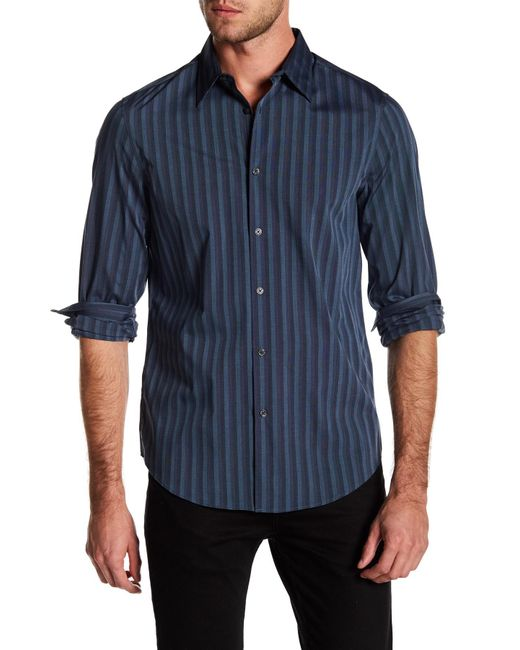 Perry Ellis - Blue Long Sleeve Stripe Stretch Fit Shirt for Men - Lyst