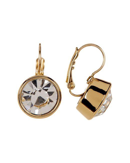 Kate Spade | Metallic 12k Gold Plated Round Crystal Drop Earrings | Lyst