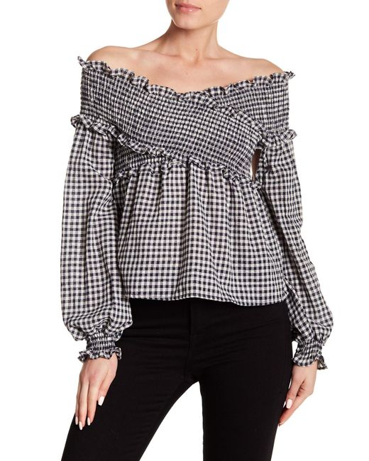 Haute Rogue - Black Off-the-shoulder Gingham Top - Lyst