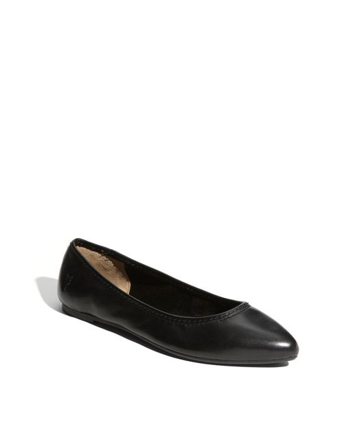 Frye | Black Regina Pointed-toe Leather Ballet Flats | Lyst