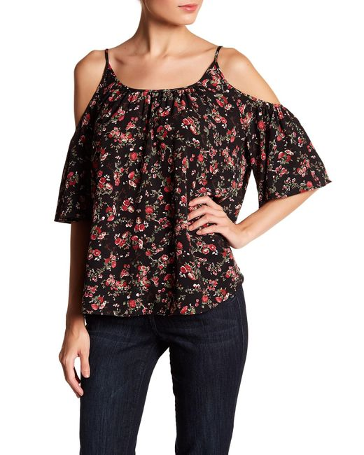 French Connection | Black Polly Plains Cold Shoulder Blouse | Lyst