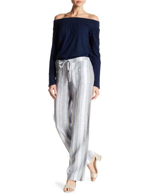 Allen Allen | Blue Linen Stripe 4-pocket Pants | Lyst