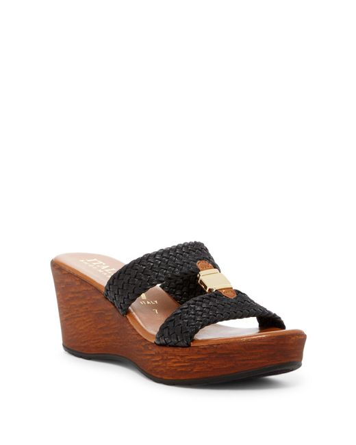 Italian Shoemakers | Black Braided Wood Platform Wedge Sandal | Lyst