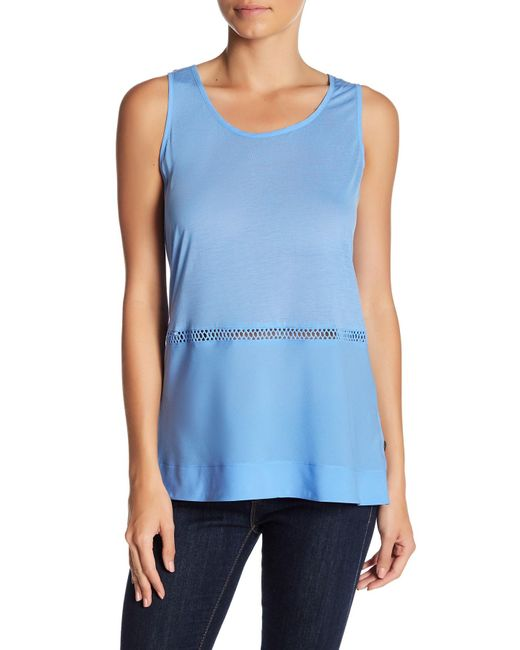 French Connection   Blue Sleeveless Knit Trim Tank   Lyst