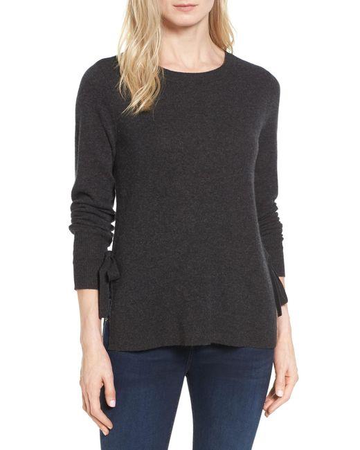 Halogen | Gray Side Tie Cashmere Sweater (regular & Petite) | Lyst