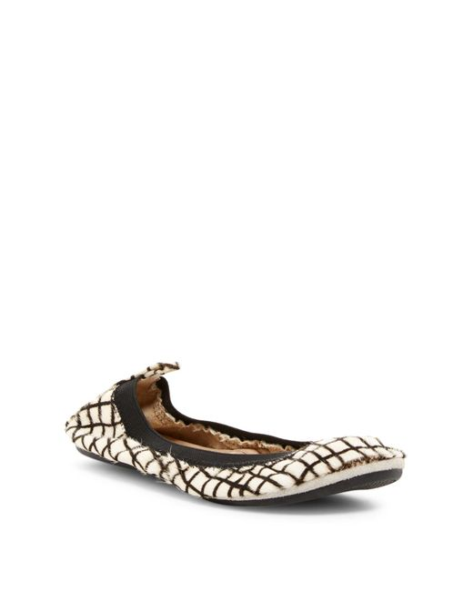 Yosi Samra | White Genuine Calf Hair Foldable Flat | Lyst