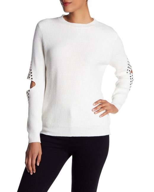 Dreamers By Debut - White Studded Cutout Elbow Sweater - Lyst