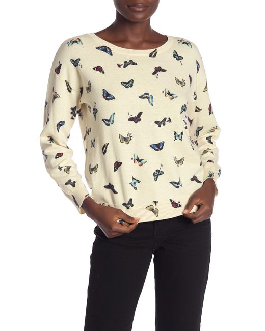 Joie - Natural Eloisa Butterfly Print Cashmere Sweater - Lyst